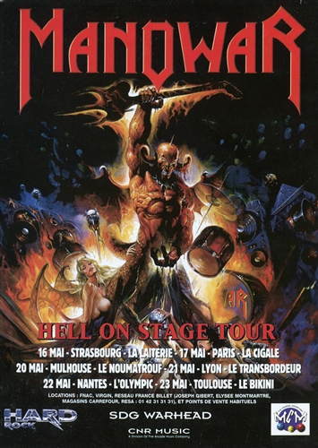 Manowar - Hell On Stage Tour- Flyer France