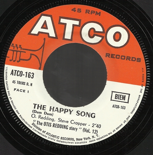 "Otis Redding - The Happy Song- 7"" Vinyl France"