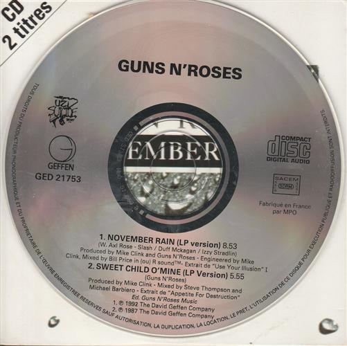 Guns and roses november rain single